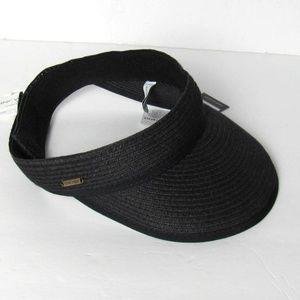 NINE WEST Black Visor Straw Headpiece One Size